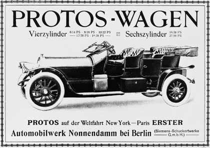 Autos aus dem Hause Siemens: Werbeblatt für die Protos-Wagen (um 1910)