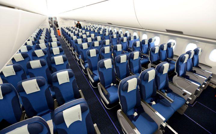 Von wegen Beinfreiheit: So sieht es in der Economy Class eines Airbus A350 aus