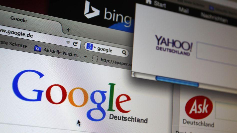 Die Webseiten der Internet-Suchmaschinen Google, Yahoo, Bing und Ask.