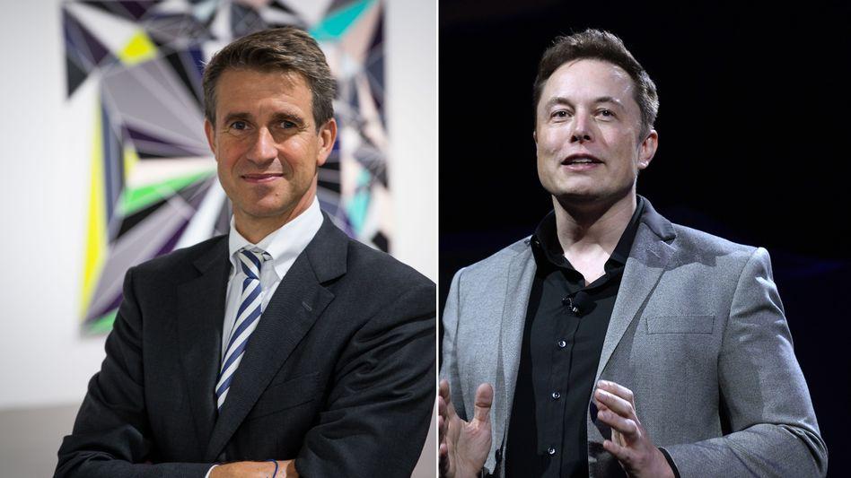 Solarwatt-Investor Stefan Quandt (l.), Tesla-Chef Elon Musk