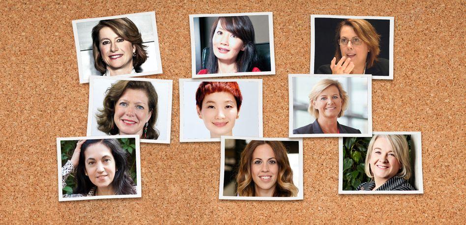 Im Karriere-Interview: Corinne Vigreux (TomTom), Jie Jane Sun (Ctrip), Simonetta di Pippo (UNOOSA), Sigrid Bauschert, Xiao Xue (Elle), Anka Wittenberg (SAP), Muza Monams, Burcu Geris, Alison Rowe (von oben links nach unten rechts)