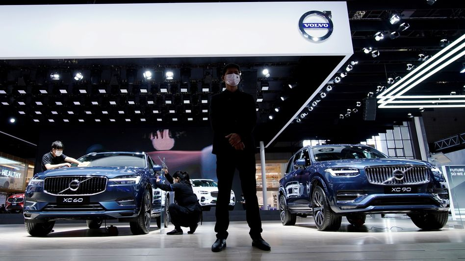 Push aus China: Volvo-Stand auf der Shanghai Auto Show im April 2021