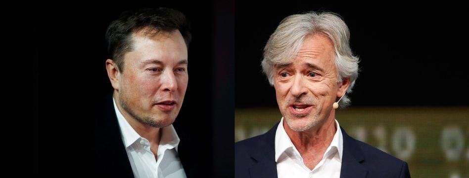 Angetwittert: Tesla-Chef Elon Musk (l.) kritisiert Waymo-Chef John Krafcik, dessen Unternehmen den ersten Robotaxi-Dienst der Welt in Phoenix betreibt