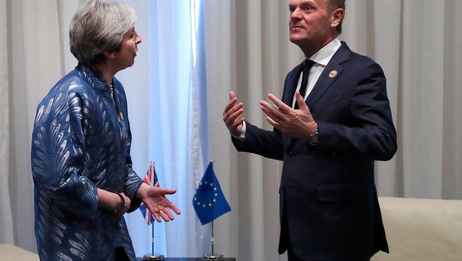 EU-Kommissionschef Donald Tusk, britische Regierungschefin Theresa May: Die Briten müssen herausfinden, was sie wollen, bevor sie um eine Verlängerung bitten