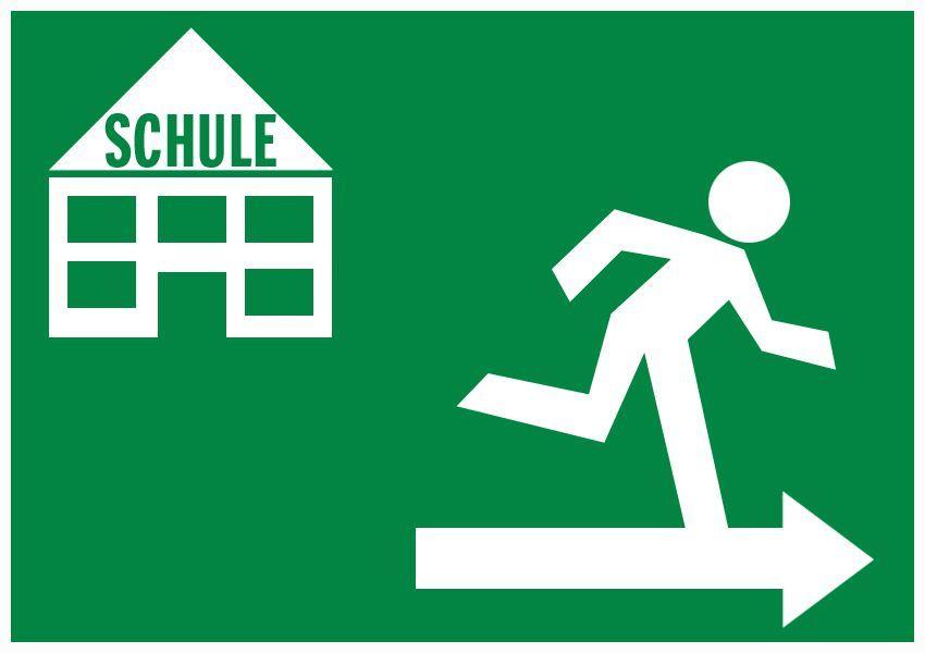Symbol Exit / Schulausreisser Notausgang Schulabbrecher Ausschnitt kleiner