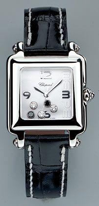 Chopard - Happy Wempe, Edelstahl mit schwarzen und weißen Diamanten, Quarzwerk, vergriffen