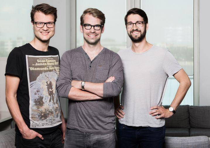 Die drei Gründer: Richard Schwenke (r), Frederick Roehder (m) und Tobias Tschötsch (l)