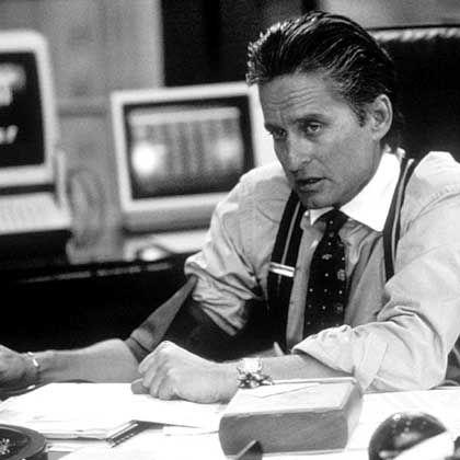 """Filmgröße: Im Bild Schauspieler Michael Douglas in der Figur des Investors Gordon Gekko aus dem Film """"Wall Street"""". Gekko gilt seitdem als Prototyp des Großinvestors."""
