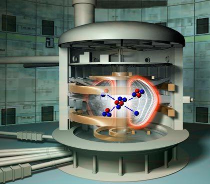 Atomkerne verschmelzen Technik: Atomkerne werden in ein glühendes Gas aus geladenen Teilchen (Plasma) eingeschossen. Dort verschmelzen sie mit anderen Atomkernen. Die dabei entstehende Energie treibt Dampfturbinen und Stromgeneratoren an. Vorteile: Fusionsreaktoren brauchen sehr wenig Brennstoff. Sie gelten als sicher. Aussichten: In der zweiten Hälfte unseres Jahrhunderts sollen Fusionsreaktoren nach und nach die Stromversorgung in den entwickelten Ländern übernehmen.