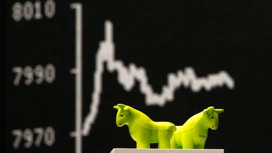 Bulle an der Börse: Eigentlich müssten Anleger optimistisch für Aktien sein - schon mangels Alternativen. Doch der Dax hat zuletzt deutlich nachgegeben
