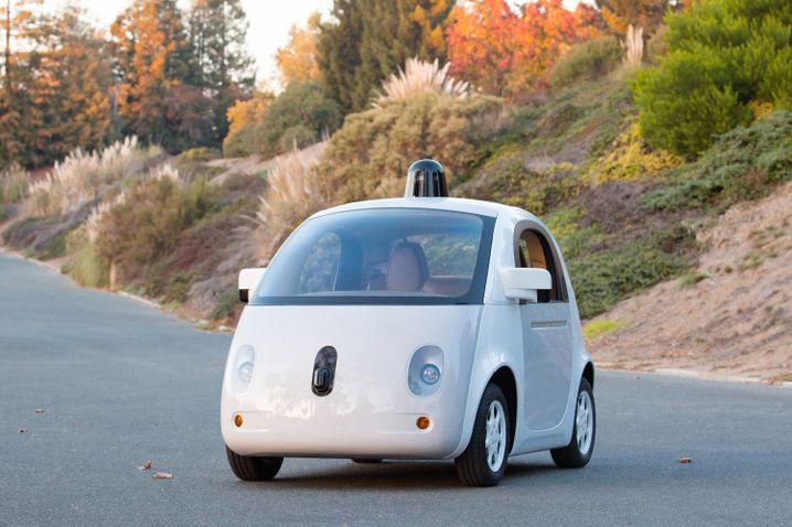 Prototyp des Google Auto (Aufnahme aus dem Jahr 2014): Gesundheitsdaten der Insassen werden permanent überwacht