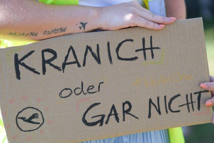 Lufthansa-Mitarbeiter demonstrierten am Donnerstag in Frankfurt