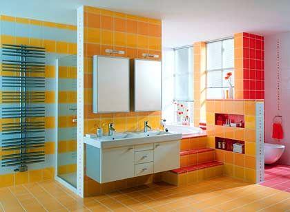 Zielgruppe Kind? Auffällige Farbenmixtur im Badezimmer