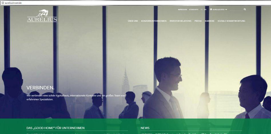 Screenshot einer Aurelius-Homepage (Archivbild): Das Private-Equity-Unternehmen wird von einem Leerverkäufer attackiert.