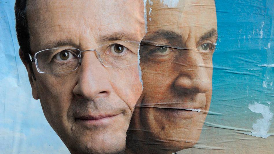 """Er - oder er: Nicolas Sarkozy (rechts) und Francois Hollande dürften nach der Wahl am Sonntag in die Stichwahl gehen. """"Die Rolle der Politiker ist stark in den Vordergrund gerückt"""", sagt Fondsmanager Renaud"""