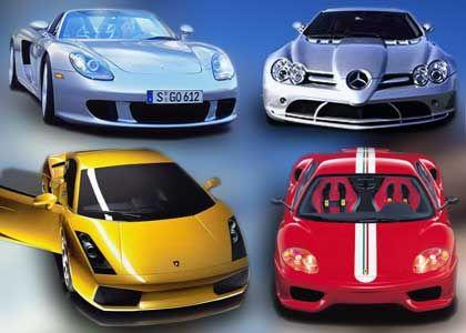 Neue Spielzeuge für Tempomacher: (v. l. o.) Porsche Carrera GT, Mercedes SLR, (v. l. u.) Lamborghini und Ferarri Challenge Stradale