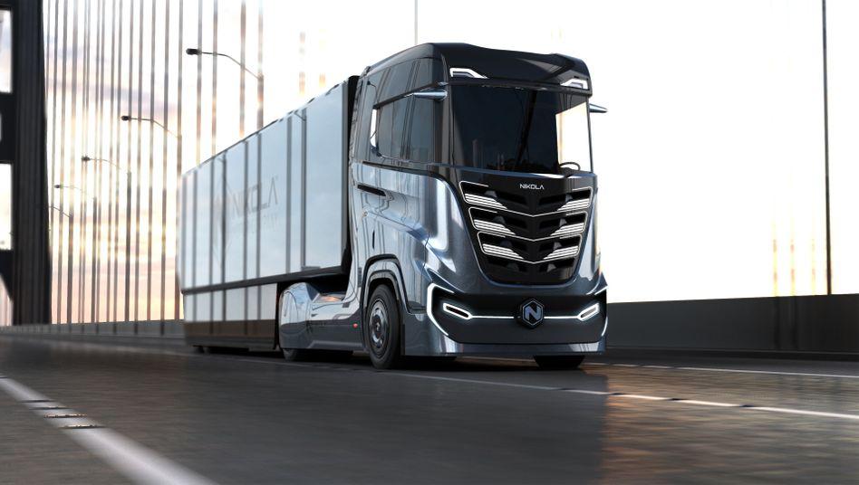 Nikola Tre: Laut dem Nikola-Chef sollten solche Lkw mit den bisher größten Batterien schon im Sommer mit Hilfe von Bosch in Ulm vom Band laufen
