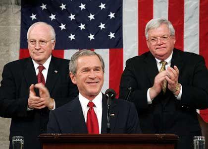 Sparen und entlasten: Bush versprch Haushaltsdisziplin und Steuersenkungen