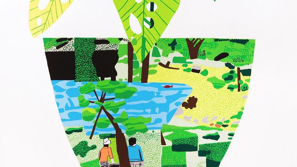 """Werk von Jonas Wood: """"Landscape Pot with Plant"""", 2017"""