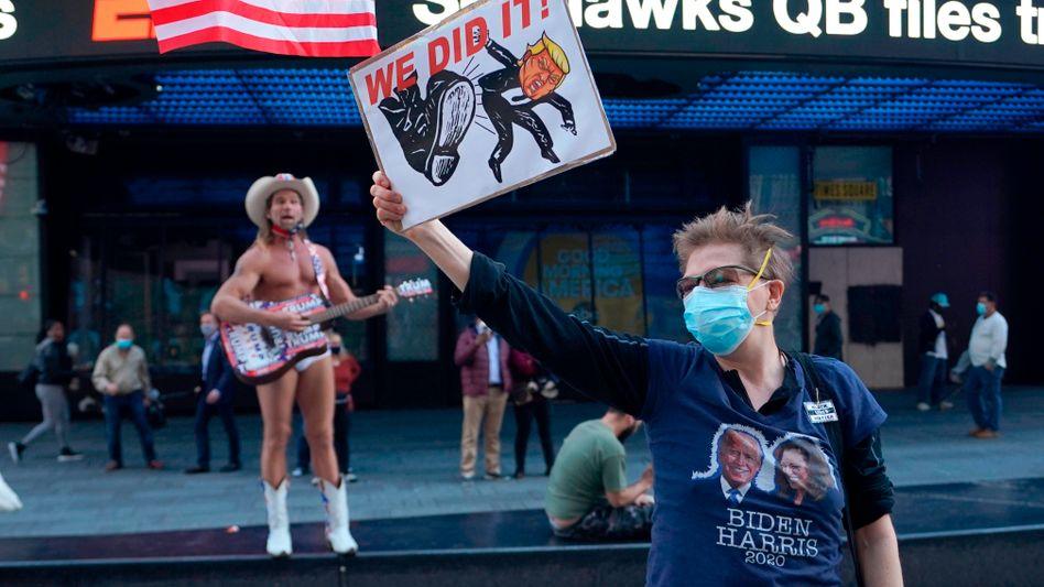Biden-Fans in New York City: Ein Sieg des Demokraten eröffnet auch für Investoren Chancen