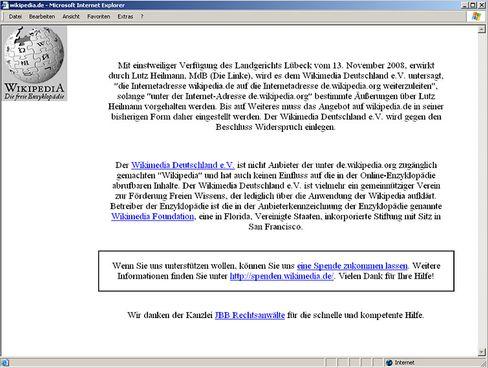 Zwischenzeitlich offline: Die deutsche Startseite des Onlinelexikons Wikipedia