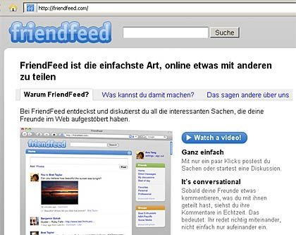 Portal Friendfeed: Knapp eine Million USer im Echtzeitweb