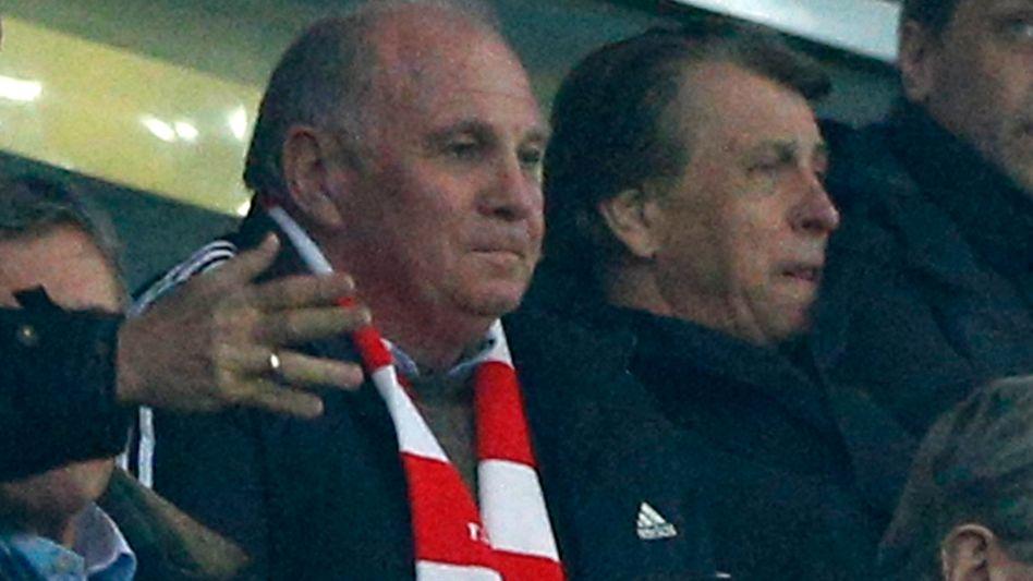 Uli Hoeneß beim Achtelfinalrückspiel seines FC Bayern gegen Arsenal am Dienstagabend in der Münchener Allianz-Arena