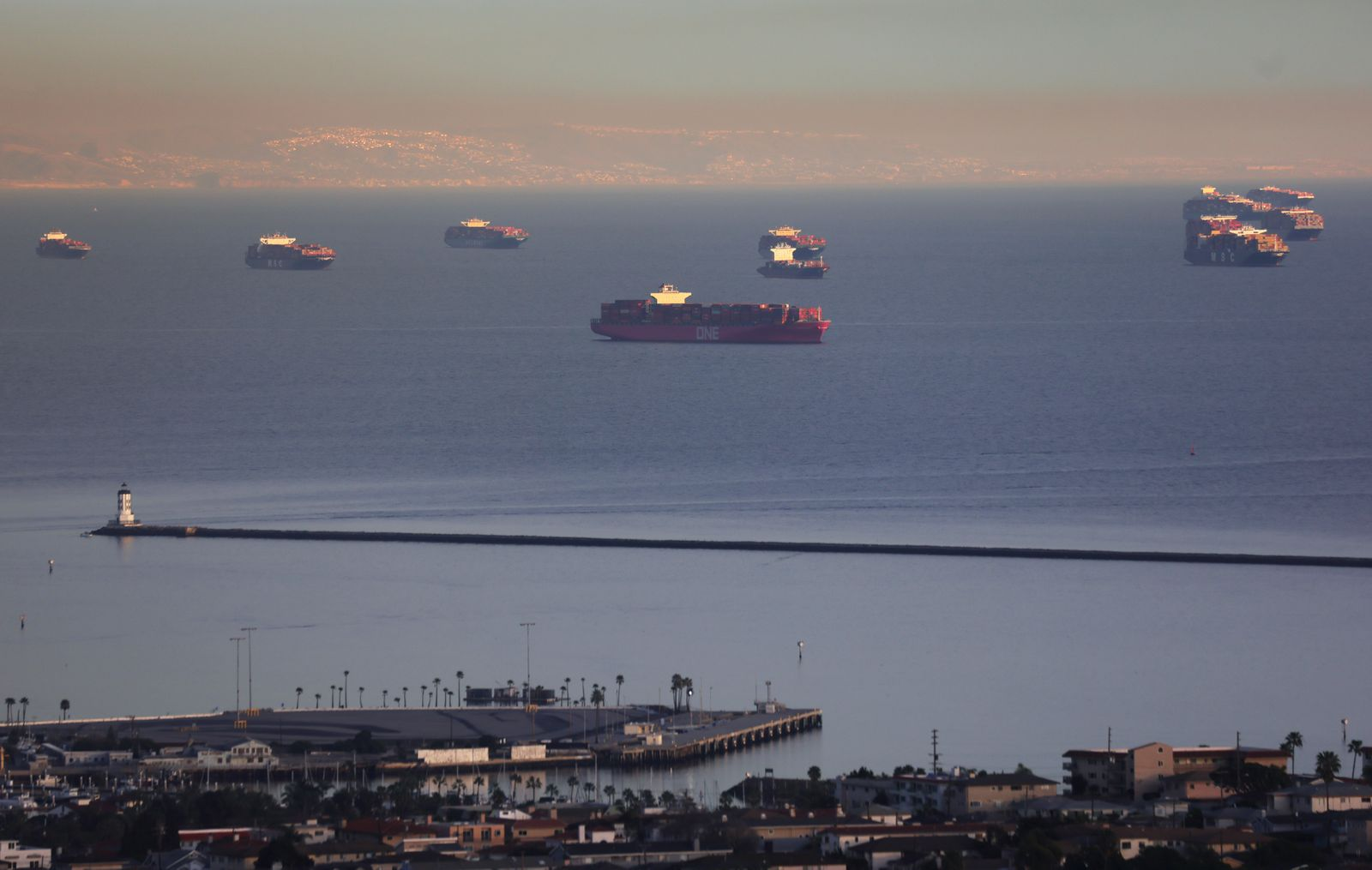 Consumers Buying Goods Online During The Covid Pandemic Results In Backup Of Tanker Ships At Long Beach Port