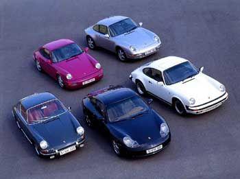 Fünf Generationen Porsche 911: Der erste Elfer von 1963 ist ganz links zu sehen, das aktuelle 911-Modell (996) in der Mitte (vorne)