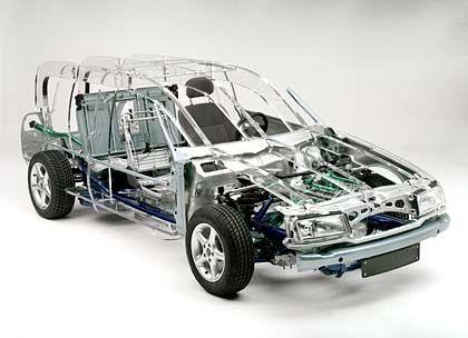 Das Modellauto ist komplett mit Produktionserzeugnissen von Benteler ausgestattet