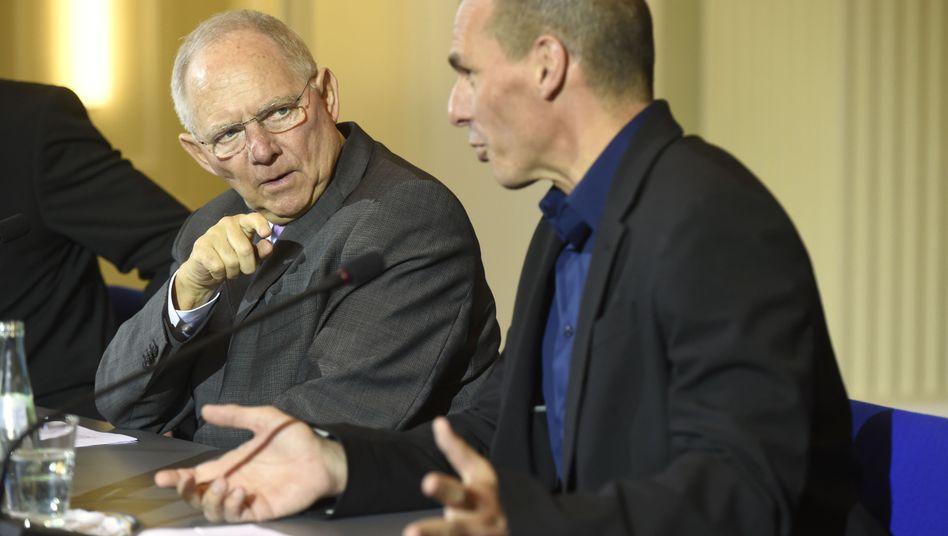 """Schäuble (mit Varoufakis, v.l.): """"Der Brief aus Athen ist kein substanzieller Lösungsvorschlag"""""""