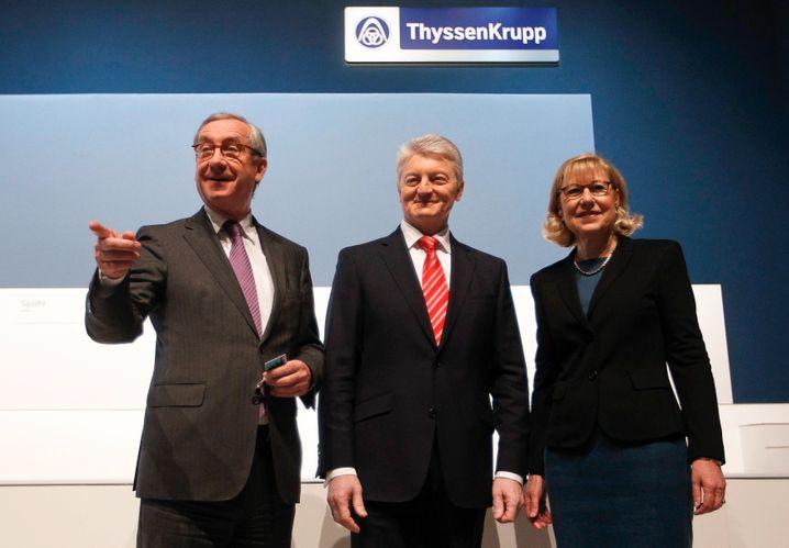 ThyssenKrupp-Aufsichtsratschef Ulrich Lehner (links) hatte Vorstandschef Heinrich Hiesinger (r.) gegen Angriffe von Investoren verteidigt. Nach dessen Rücktritt gibt nun auch Lehner sein Amt auf