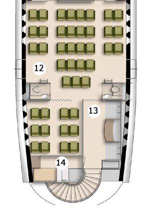 12 - Economy-Class mit 43 Sitzplätzen für Begleitpersonen und zwei WCs 13- Verpflegungsstation 14 - Ruheraum mit Etagenbetten für die Crew. Daneben führt die Treppe zum unteren Deck, das beispielsweise als Bankett-Saal eingerichtet werden kann