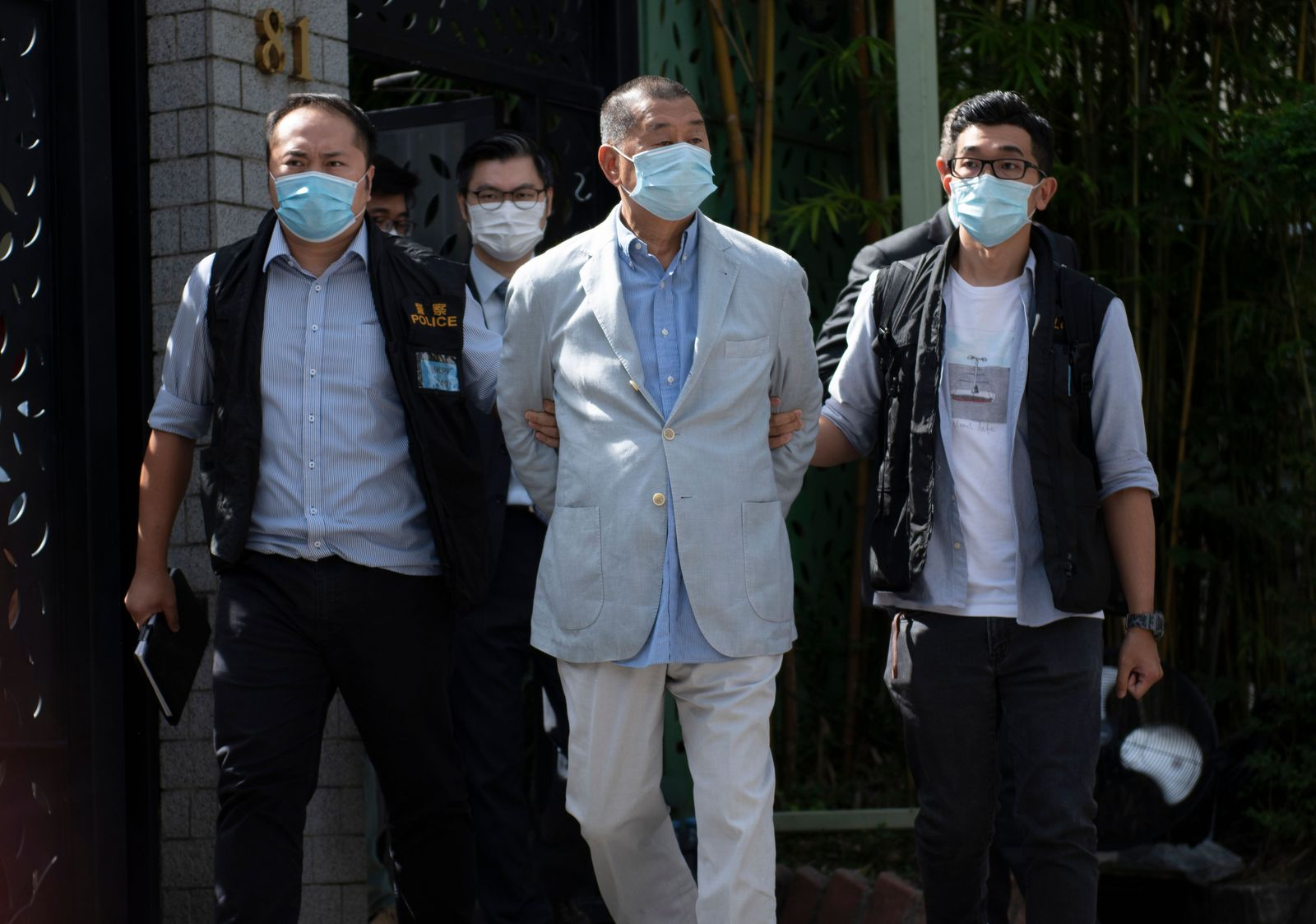 Police arrest media tycoon Jimmy Lai in Hong Kong, China - 10 Aug 2020