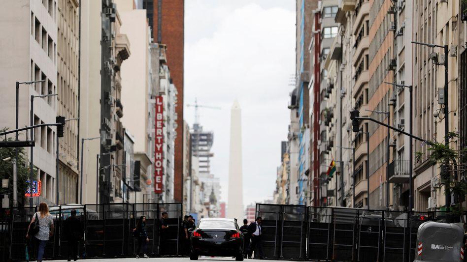 Absperrung vor dem G20-Gipfel im Zentrum von Buenos Aires