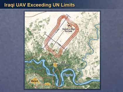 Satellitenaufnahme des Samarra-Flugplatzes: Powell zufolge verfügt der Irak über mehr unbemannte Flugzeuge, als die Uno gestattet.