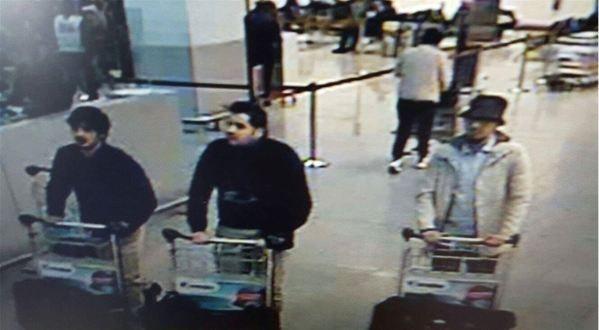 Die Attentäter am Brüsseler Flughafen: Die Brüder El Bakraoui sprengten sich selbst in die Luft, der dritte Attentäter Najim Laachraoui (rechts, mit Hut) wurde entgegen anderslautenden Meldung offenbar nicht gefasst