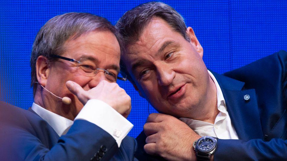 Neue Hoffnungsträger / Machtkämpfer für den Mittelstand? Bayerns Ministerpräsident Markus Söder (CSU) und Armin Laschet, Kanzlerkandidat der Union, beim Auftakt zum Europawahlkampf von CDU und CSU 2019
