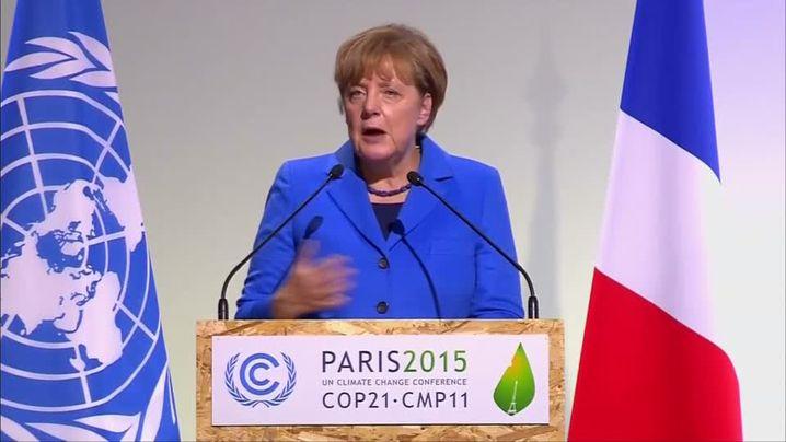 Bundeskanzlerin Merkel auf dem Pariser Klimagipfel: Deutschlands Ambition heißt, den CO2-Ausstoß von 1990 bis 2020 um 40 Prozent zu senken