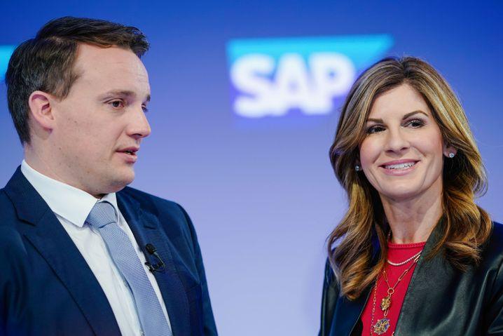 SAP-Chef Christian Klein mit Noch-Kollegin Jennifer Morgan (Bild vom Januar)