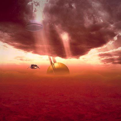Titan-Mission: So stellen sich die Forscher den Anflug von Cassini und Huygen auf den Saturn-Mond vor