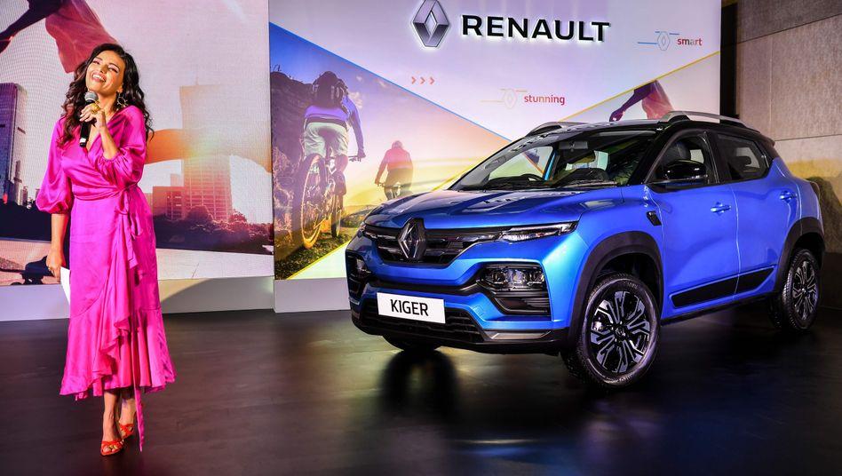 Hoffen auf Trendwende: Präsentation des neuen Kompakt-SUV-Modells für Indien Renault Kiger in Mumbai am 15. Februar