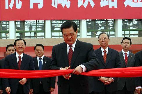 Einweihung: Der chinesische Präsident Hu Jintao eröffnete die Tibet-Bahn feierlich