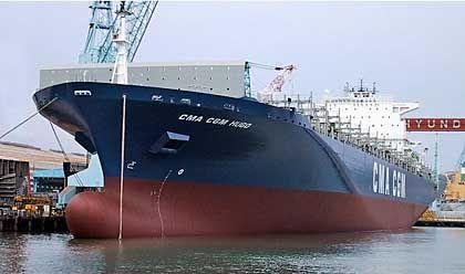 """Weltmarktführer: Auch das Containerschiff """"Conti Everest"""" wurde in Südkorea gebaut"""