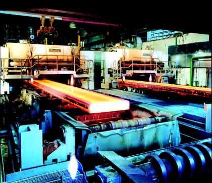 Zweistrang-Brammengießanlage in einem Hüttenwerk von Krupp in Duisburg