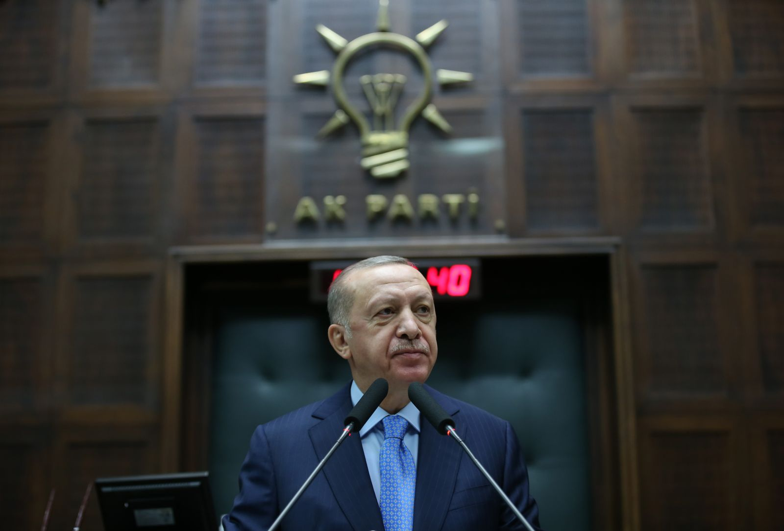 Turkish President Erdogan addresses AKP members at the parliament in Ankara, Turkey - 11 Nov 2020