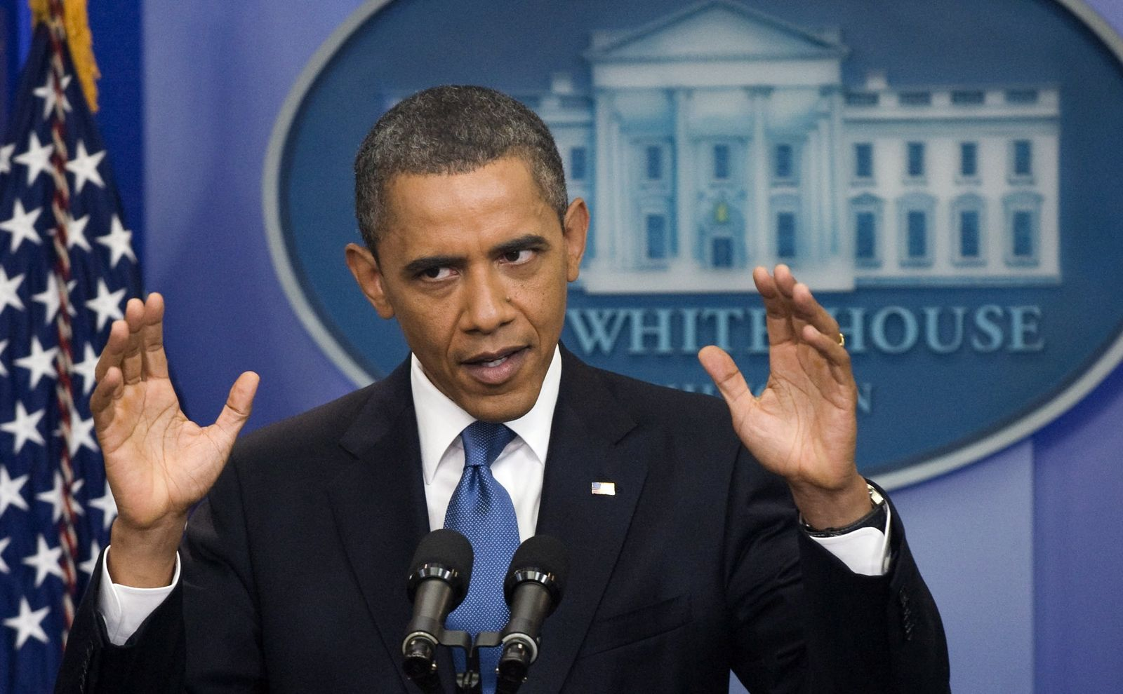 US President Barack Obama holds a press conference.