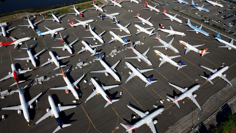 Gegroundete Boeing 737 Max in Seattle: Die Krise des Konzerns bremst das Wachstum der US-Wirtschaft