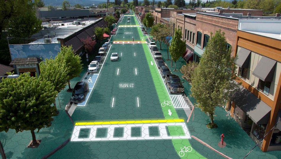 Zukunftsvision: Grafik einer Kleinstadt in Idaho mit Solarstraßen