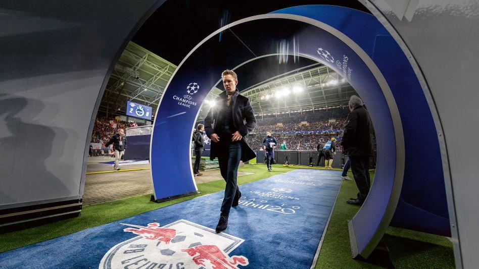 Großer Auftritt: Im Champions-League-Achtelfinale gegen Tottenham Hotspur Mitte März fuhr Julian Nagelsmann den Sieg für RB Leipzig ein – und legte mit einem 2:1 im Viertelfinale gegen Atlético Madrid nach. Heute geht es im Halbfinale gegen Paris